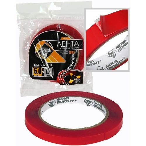 Adhesive Tape double sided Nova Bright-fusion Red + transparent (TT), 12mm 5 m зонт трость kawaii factory kawaii factory ka005dwconq7