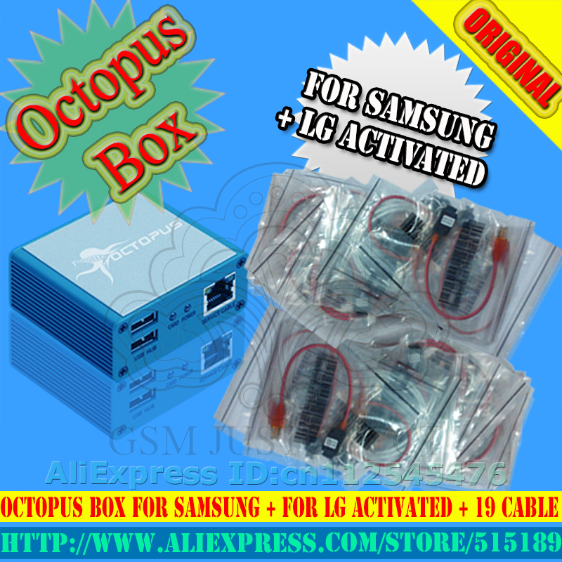 Octopus / octoplus box original completamente activado para LG para Samsung 19cables, incluida la herramienta Optimus Cable Unlock Flash & Repair