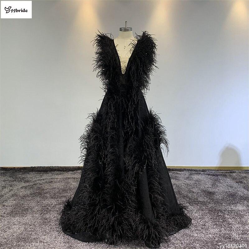 YYbride plumes noires v-cou robes de bal dos nu Vintage formel soirée a-ligne avec Court Train robes de soirée