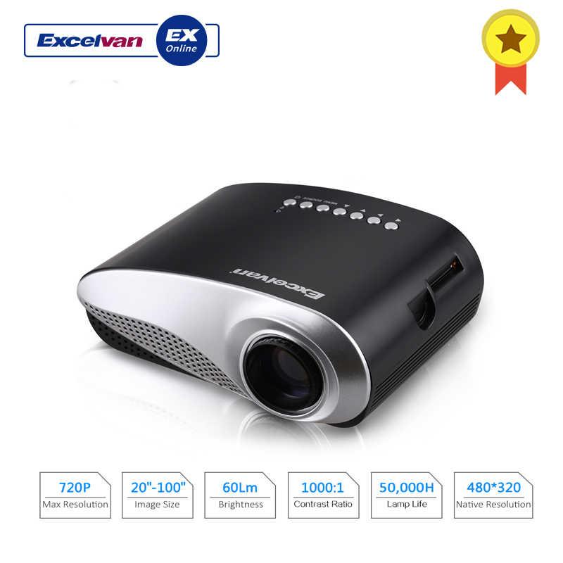 Excelvan светодиодный/ЖК Портативный мини-мультимедийный проектор AV/USB/VGA/HDMI/SD домашний кинотеатр 480*320 60 люмен для DVD PC USB проектор