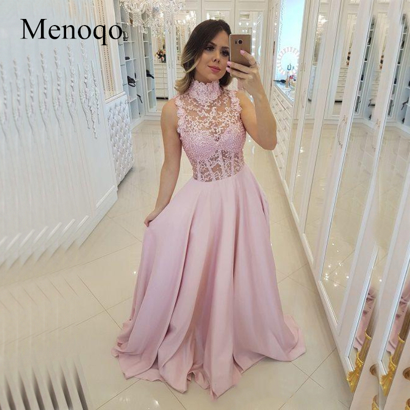 High Neck Pink Evening Dresses 2019 Sheer Bead Lace Boning Evening Gowns See Through Party Ball Dress Formal Gown