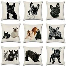 купить Dog Cushion Cover 45x45cm Pillow Cases Home Decor Animals French Bulldog Printing Cotton Linen Pillow Cases дешево