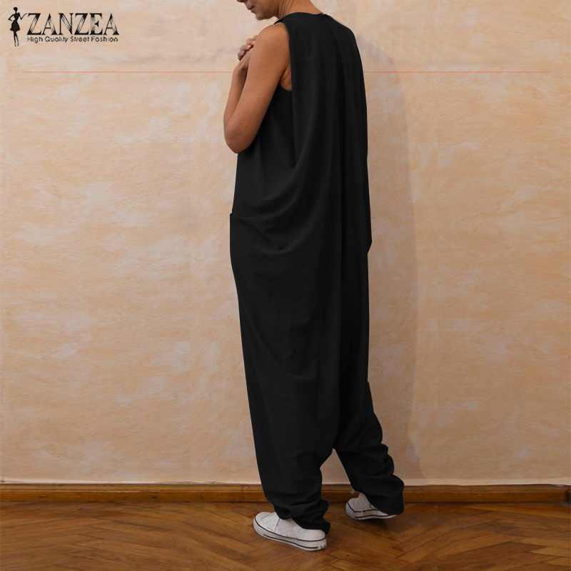 2019 плюс размер ZANZEA летние женские плотные, без рукавов, в повседневном стиле, винтажные свободные длинные комбинезоны-шаровары, комбинезон с заниженным шаговым швом