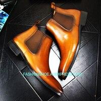 Высокие ботинки челси для мужчин британский стиль пояса из натуральной кожи s Ботинки martin осень зима