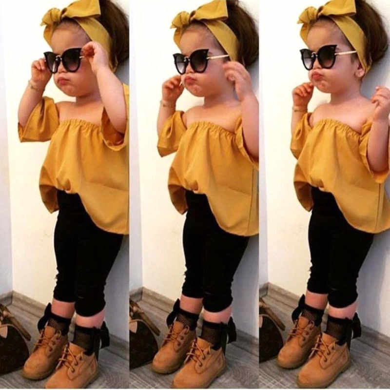 e69bf43d2f2be 2-7T Toddler Kids Baby Girl Fashion Clothes set Summer Off Shoulder Crop  Top Long Pants Outfits Cute Cotton lovely Clothes