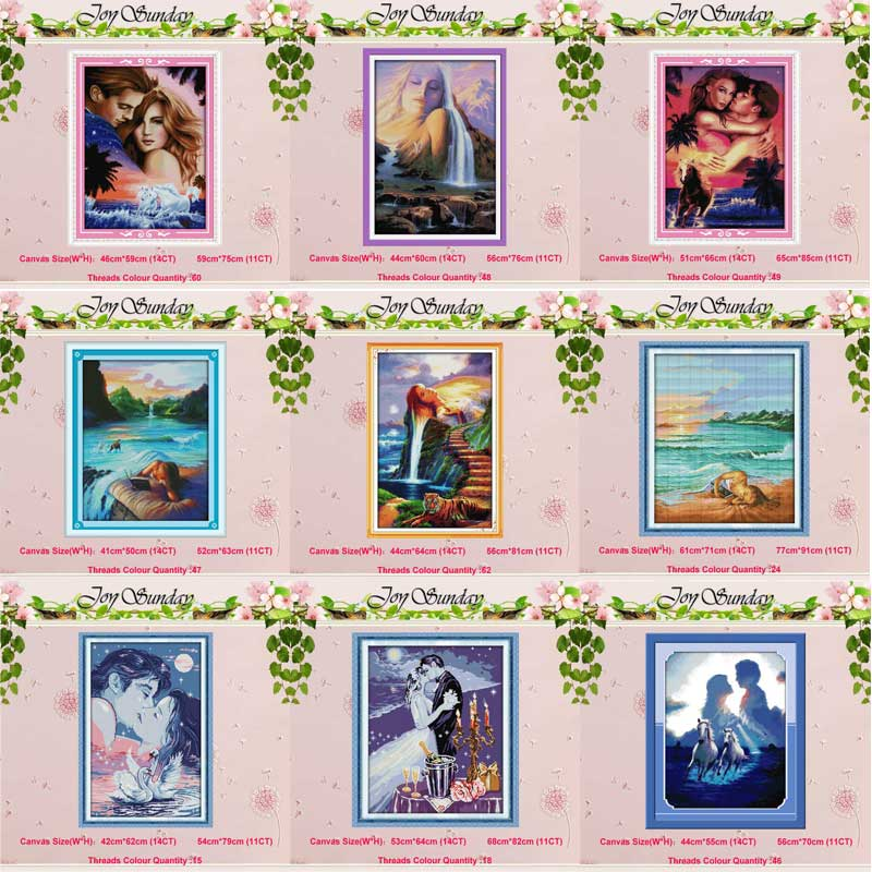 Women Lovers Painting Counted Cross Stitch 11CT 14CT Cross Stitch Set Wholesale DIY Cross-stitch Kit Embroidery Needlework