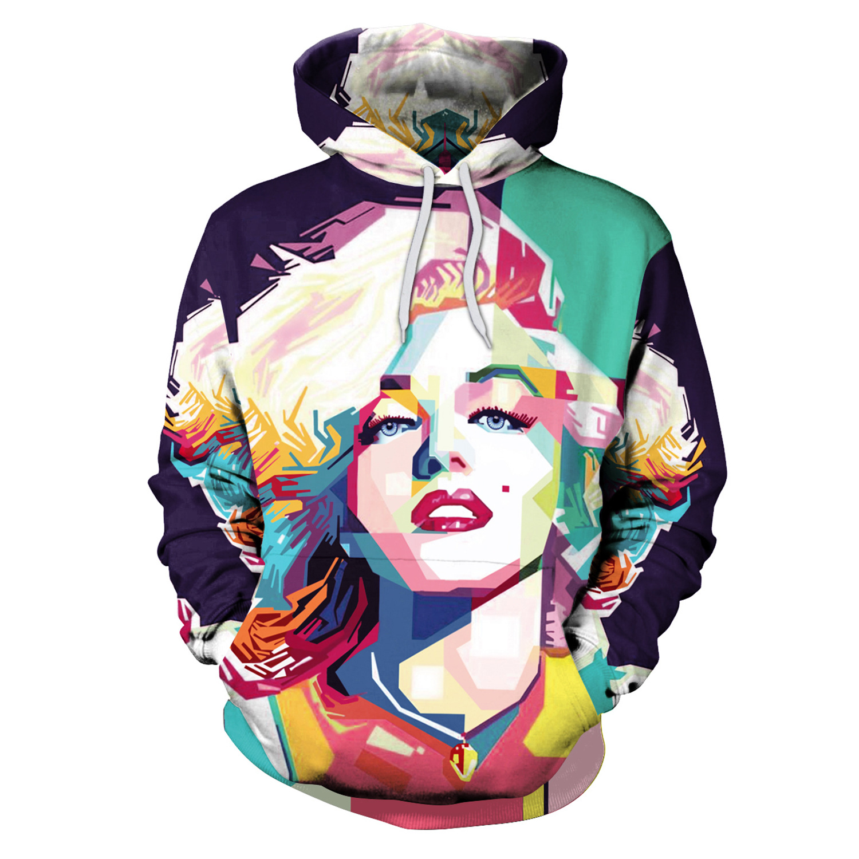 Women Hoodie Marilyn Monroe Print Hoodies With Hat Women Pullover Loose Sweatshirt Sudaderas Mujer Moletom