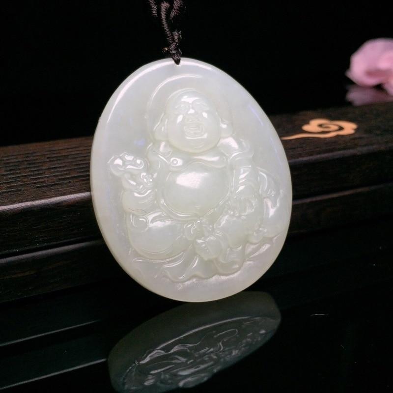 2019 laiton jointures livraison gratuite pendentif naturel Hetian Ruyi souriant Maitreya pendentif un plus grand collier circulaire