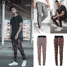 2019 Newest Hot Men Running Pants Gym Sport Trousers Tracksuit Bottoms Skinny Sweat Plaid Pant Fashion Fitness(China)