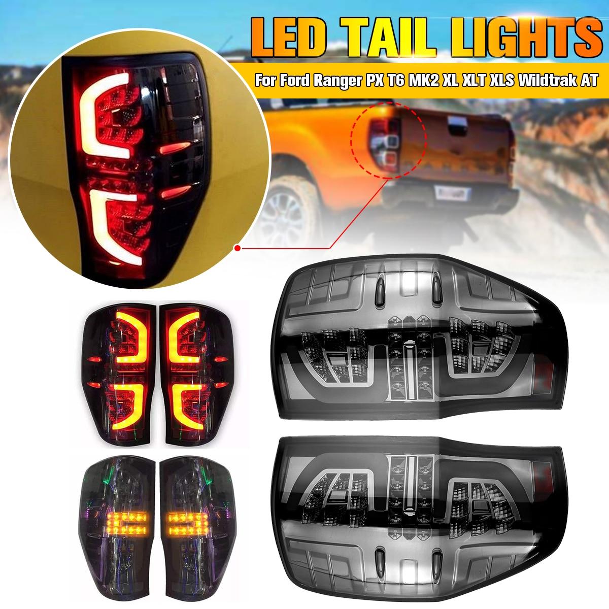 1 paire Arrière Feux Arrière Lampe pour Ford Ranger PX T6 MK2 XL XLT XLS Wildtrak À Fumé LED Faire l'installation Brise Match Usine