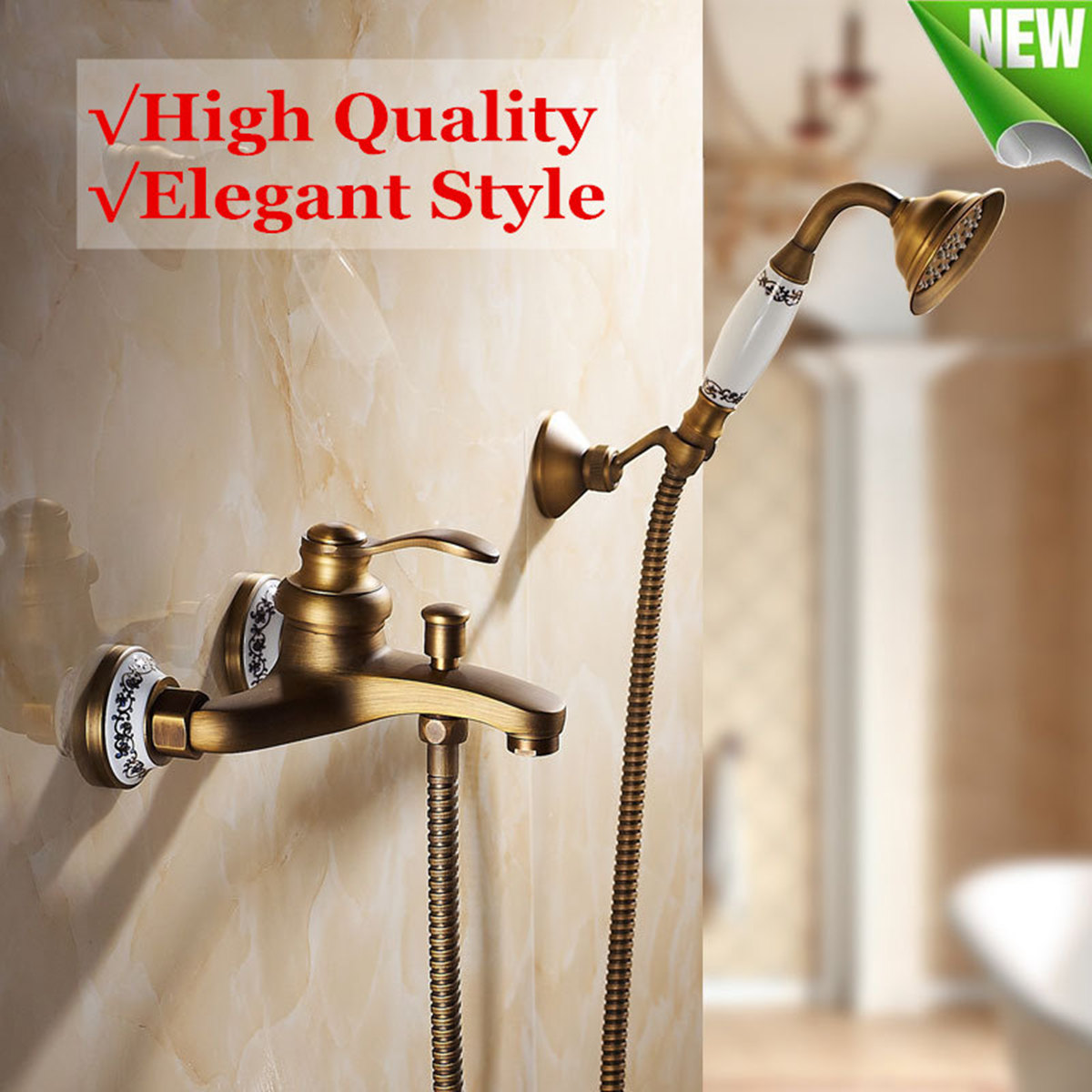 Us 63 84 52 Off Wall Mounted Antique Brass Shower Faucet Sets Head Bathroom Faucets Bath Tub Spout Hand Shower Held Mixer Tap Spray Waterfall In