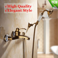 Wall Mounted Antique Brass Shower Faucet Sets Head Bathroom Faucets Bath Tub Spout Hand Shower Held Mixer Tap Spray Waterfall