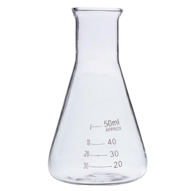 Kicute Newest 50ml Transparent Scientific Clear Glass Erlenmeyer Flask Lab Teaching Supply Glassware Tool Laboratory Supplies
