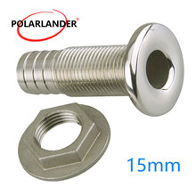 316 Thru Hull Stainless Steel Drain Joint Silver Connector Marine Hose Barb Fitting For