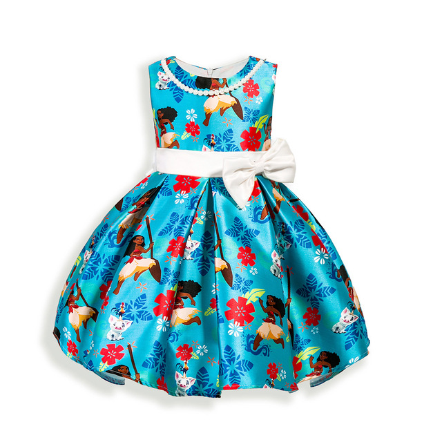 7b50be4a2 Baby Girls Bow Princess Dress Children's Clothing Cartoon Movie Moana  Birthday Party Dresses 3 4 5 6 7 Years