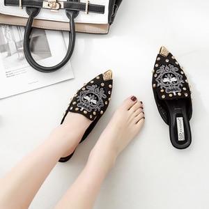Image 4 - Swyivy sandália feminina casual, sapatos dedo do pé, bordado, chinelos meia sapatos de luxo para mulheres, sapatos casuais, verão 2019 40 40 unidades
