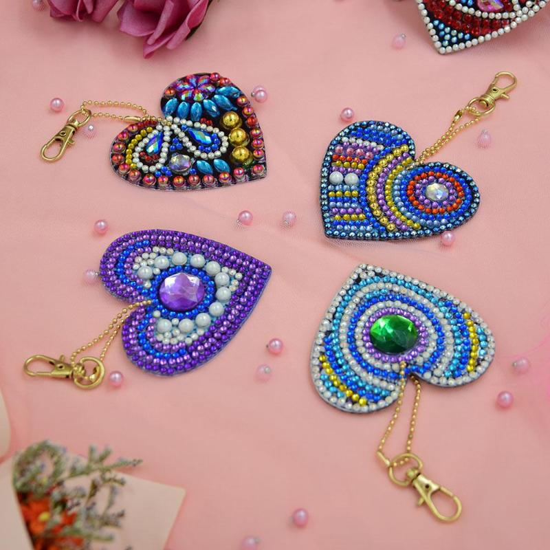 5pcs set 5D DIY Diamond Painting Keychain Pendant Full Drill Rhinestone Embroidery Heart Shape Colorful Diamond Painting in Diamond Painting Cross Stitch from Home Garden