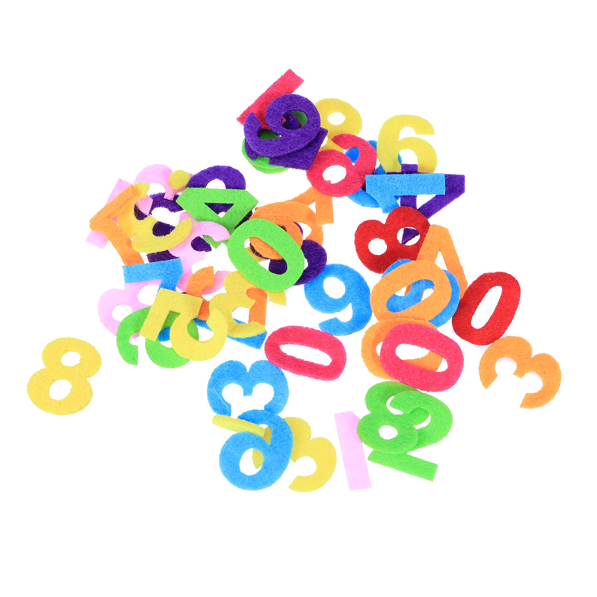 50pcs Felt Non-Woven Fabric Colorful Numbers DIY Handmade Craft Accessory For Gifts Scrapbooking Decoration Kids Toys
