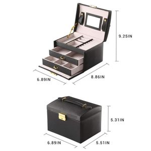 Image 3 - Large Jewelry Packaging Boxes Armoire Dressing Chest with Clasps Bracelet Ring Organizer Carrying Cases with 2 drawers 3 layers