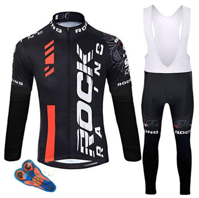Rock 2019 primavera/outono roupas de ciclismo dos homens conjunto de roupas de bicicleta respirável anti-uv bicicleta wear/manga longa ciclismo jérsei conjuntos 1