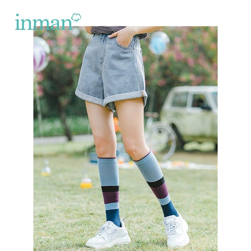 INMAN Summer High Waist Slim Korean Fashion High Waist Slim Casual Student All Matched Loose Women Short Pants