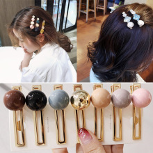 Fashion 1PC New Alloy Crystal Women Hairpin Girls Barrette Beads geometric Hair Clip Sweet Weddings Accessories