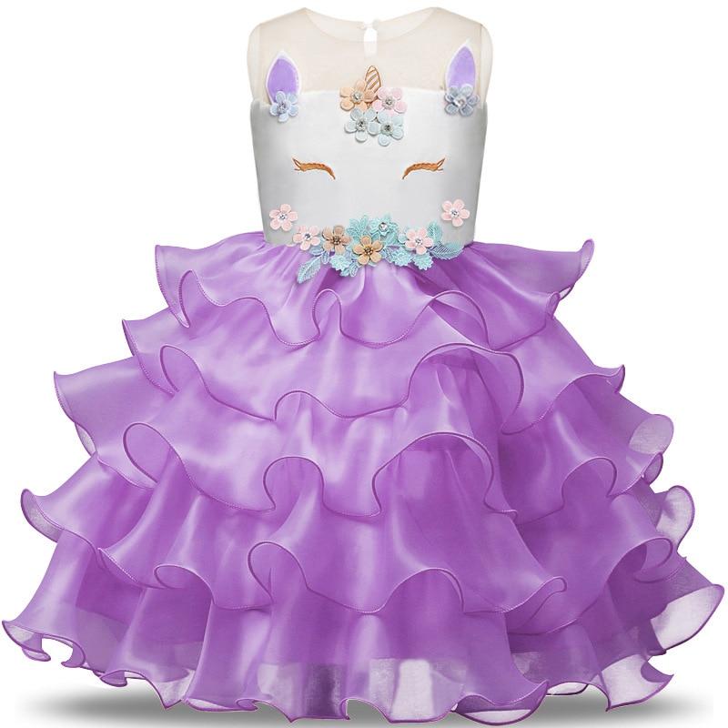 4554e5c66d2b24e Необычные Единорог вечерние платье для маленьких девочек платье-пачка Лето  2018 детская одежда для девочек с вышивкой для девочек в цветочек .