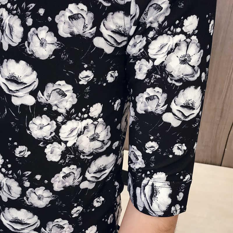 韓国黒、白の花印刷シャツスリムフィットドレスシャツメンズハーフ袖タキシードカジュアルビジネスシャツ男性の夏の服