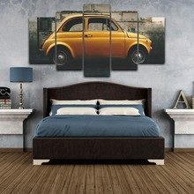 Modern Canvas Pictures HD Printed Wall Art Frame 5 Pieces Mini Yellow Car Retro Buildings Living Room Home Decor Painting Poster(China)