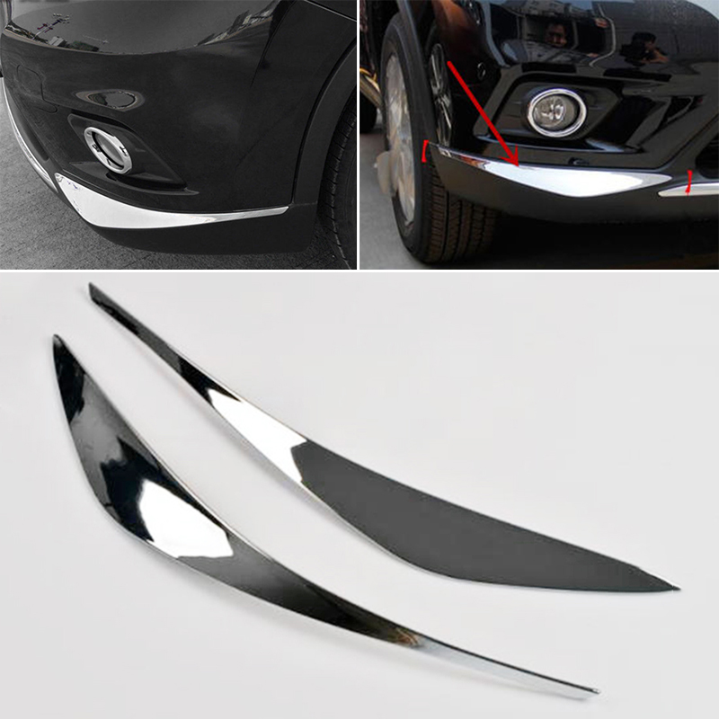 <font><b>1</b></font> Pair New Silver ABS Front Bumper Chrome Trim Molding Protector for Nissan Rogue X-trail 2014 2015 2016 Car Accessories image