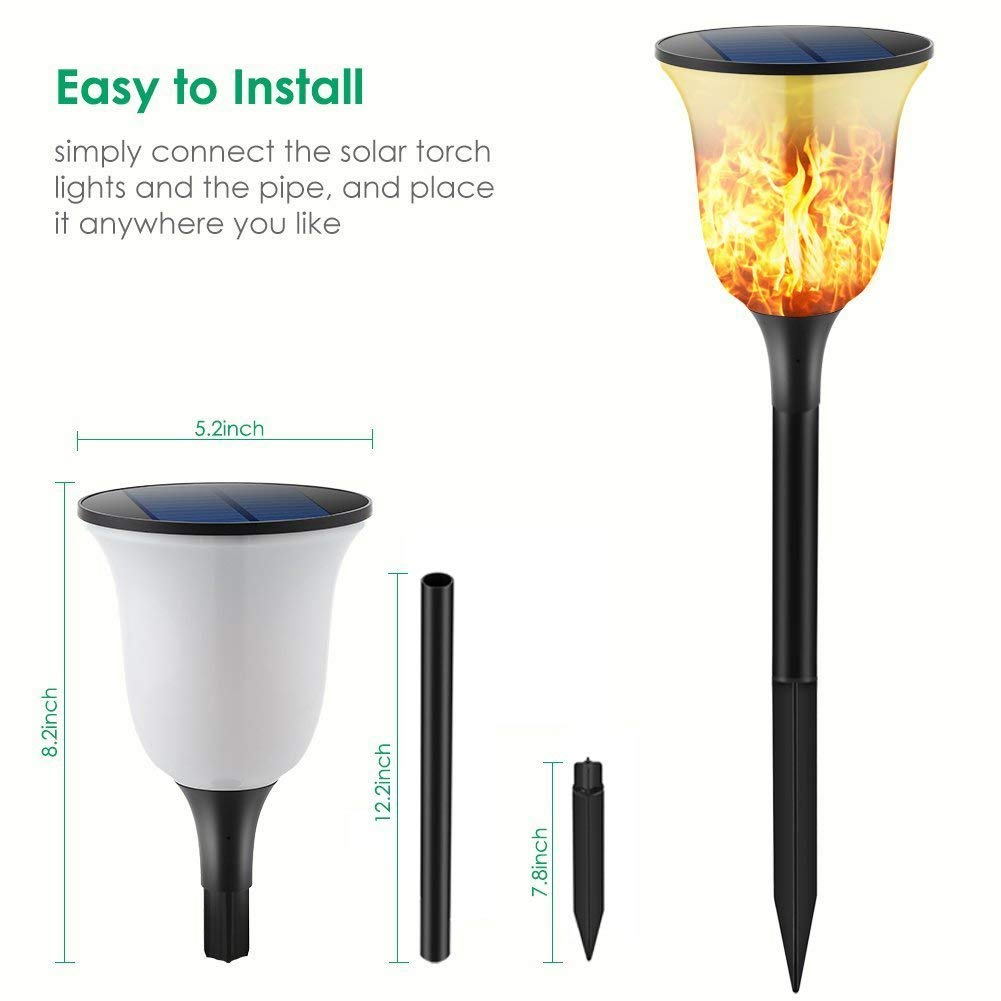 BIFI Solar Garden Torch Light, Flashing Flame Solar Light ...
