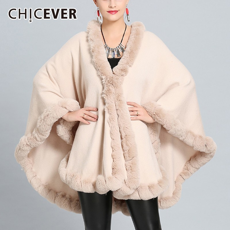 CHICEVER Autumn Winter Warm Shawl For Women s Scarves Loose Oversize Fur Collar Knitted Thick Shawl