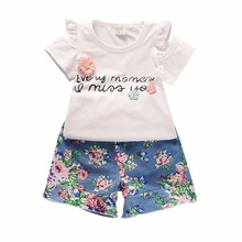 цена на 2019 New Summer Children Girls Clothes Sets Kids 2pcs Sleeves T-Shirt Floral Shorts Toddler Child Clothing Leisure Sport Suits