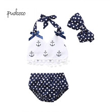 Pudcoco бренд Новая одежда для маленьких девочек якорь топы+ полька трусы в горошек+ комплект с ободком женский пляжный костюм 0-24 м