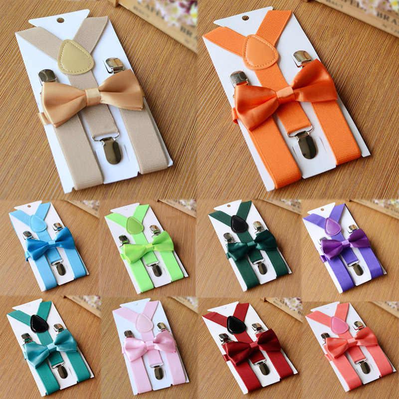 חם 26 צבעים מתכוונן אלסטיים ילדים Braces חגורת כתפיות טוקסידו Bowtie חליפת ילד בנות ילדי רצועת קליפים חתונה