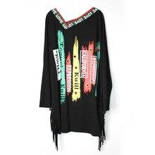 Весенняя Новая модная футболка в стиле панк-рок с длинными рукавами, хлопковая Футболка с кисточками больших размеров, женская одежда, топы