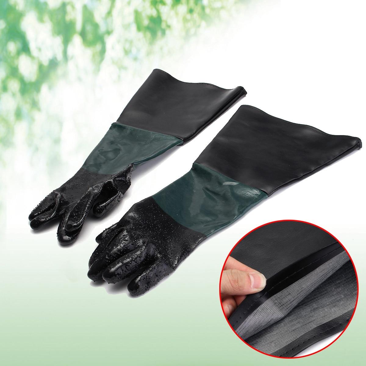 24''x10'' Rubber Sandblaster Sand Blast Sandblasting Gloves For Sandblast Cabinets Safety Glove