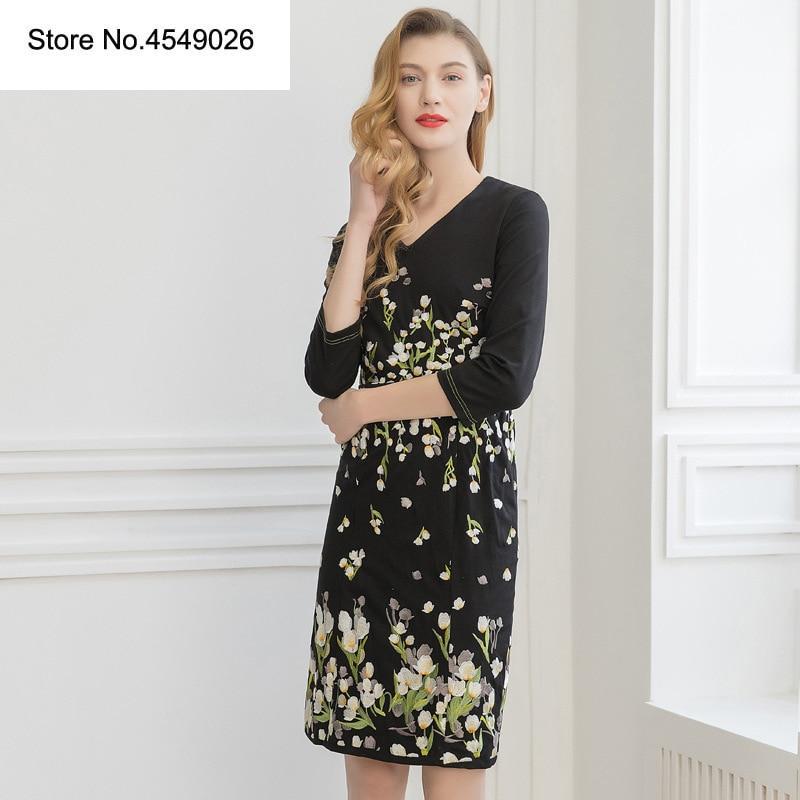 cd8ce025f9426f Kleid 3 Retro 4 Frühling europa Q214 Mode Vintage A line Sommer Floral end  amerikanischen Vestidos 2019 Hülse High Frauen ybf7vgY6
