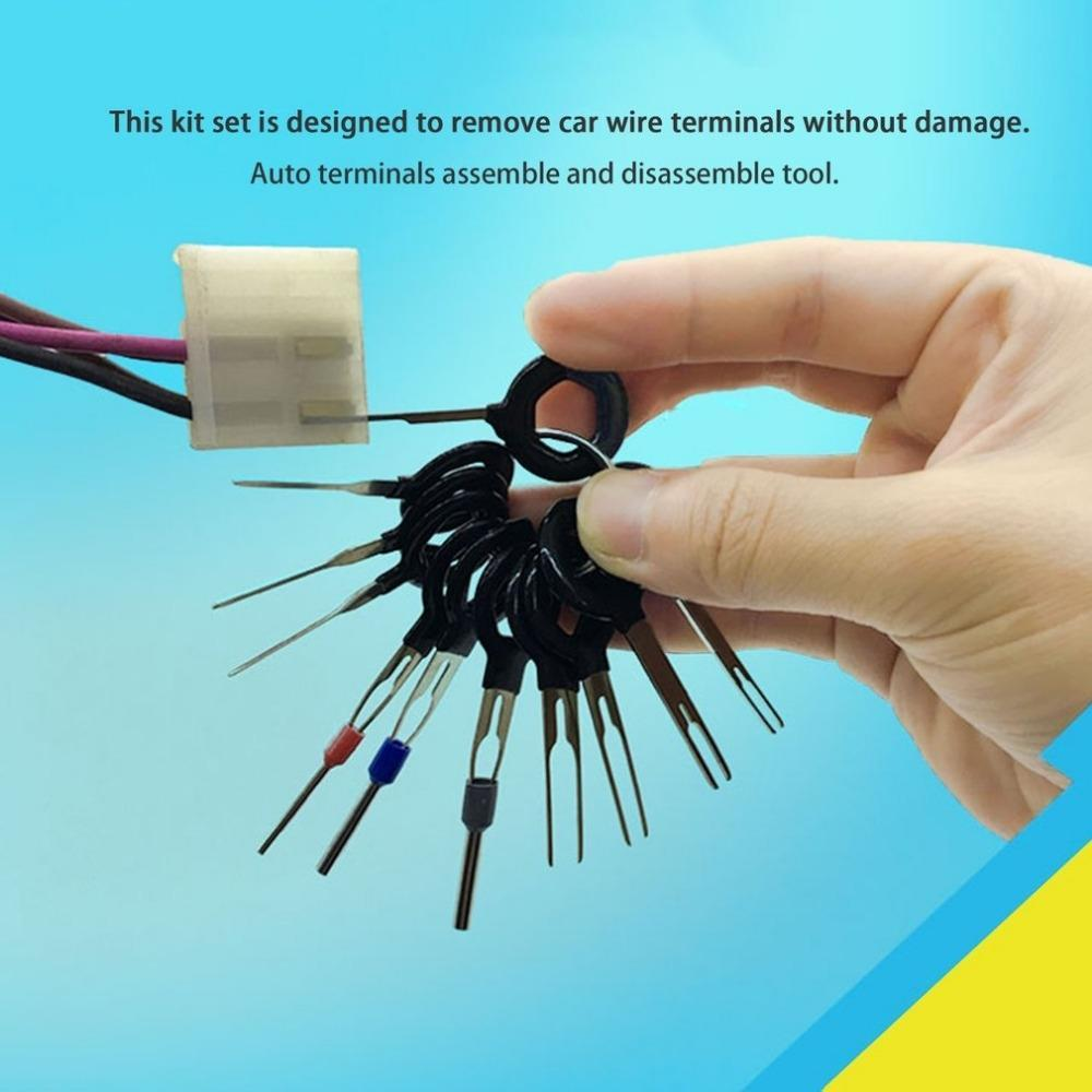 Auto Terminals Removal Key Tool Set Car Electrical Wiring Crimp Connector Extractor Puller Release Pin Kit 21//26pcs