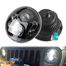 80W 7 LED headlight for car 4x4 offroad motorcycle Harley Jeep Wrangler JK LJ CJ TJ H4 H13 LED headlight kit 7 led headlight for motorcycle projector led bulb projector h4 h13 motorcycle headlight