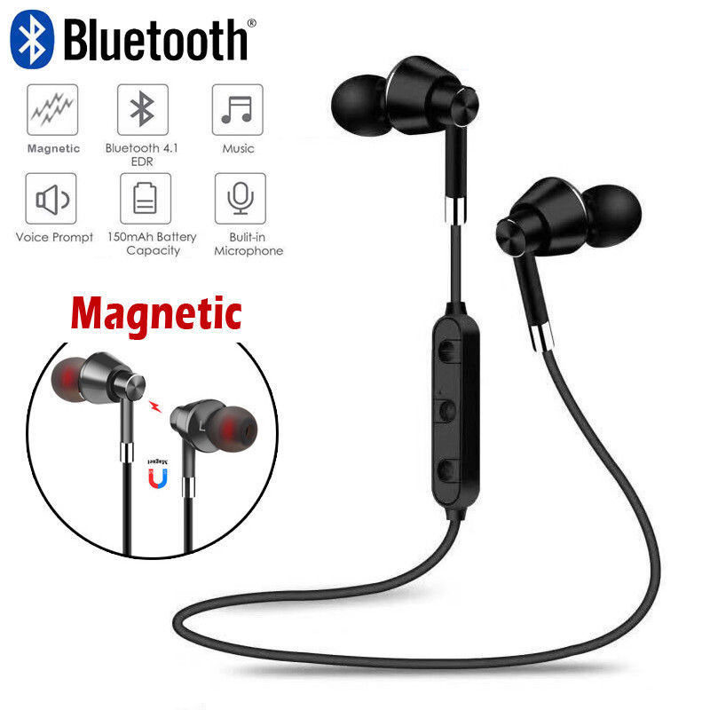 Fornorm Magnetic Headphones Wireless Bluetooth Sweatproof Sport Earphones Stereo Headset With Mic For Iphone 8 X Cellphone magnetic attraction bluetooth earphone headset waterproof sports 4.2