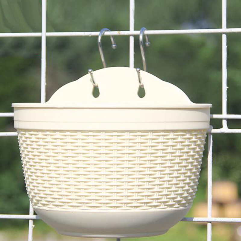 Semicircular Plant Pots Set Indoor Hanging Planter Creative Resin Rattan Succulents Flower Pot Wall Decor Container Home Garden