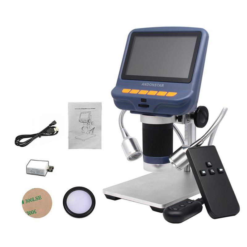 4 3 Inch LCD Digital Microscope Durable USB Adjustable Light Microscope With HD LED Display Screen