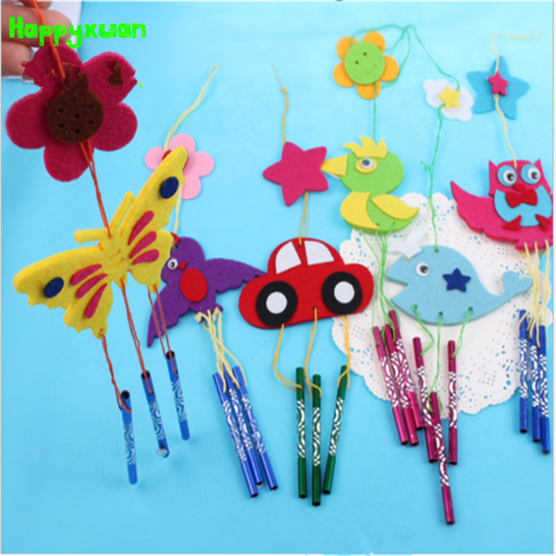 Happxuan 5pcs Felt Puzzle Hangings Wind Chimes DIY Owl Dolphin Animal Kids Art Crafts Kit Kindergarten Educational Toys 4 Years