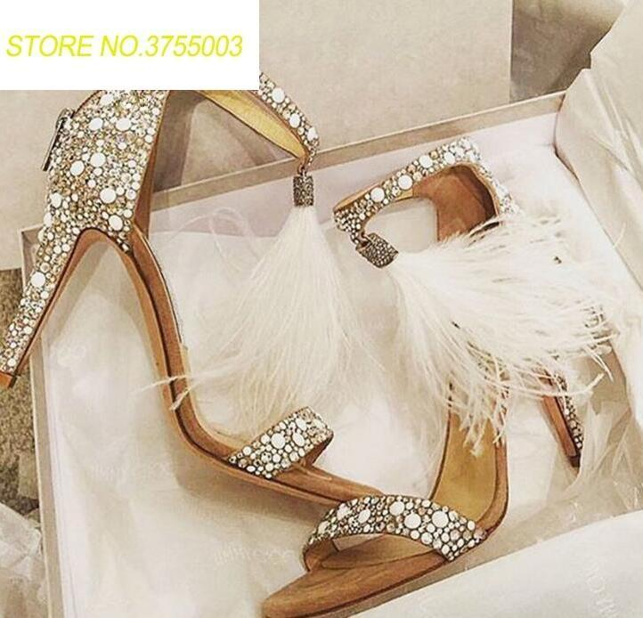 Elegant White Pearl Patchwork Women Open Toe Sandals Sexy White Feather Fringe Ladies Fashion High Heels Ankle Strap Dress ShoesElegant White Pearl Patchwork Women Open Toe Sandals Sexy White Feather Fringe Ladies Fashion High Heels Ankle Strap Dress Shoes