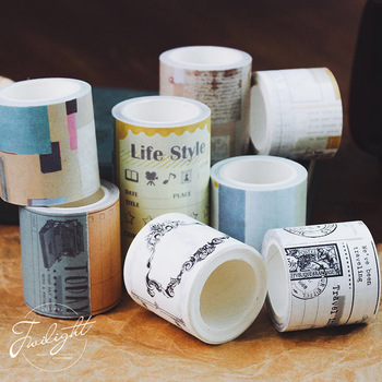 Vintage Lifelog Sleepwalk Time Series Diary Decoration Washi Tape Cute Stationary40mm50mm80mmX5meter image