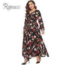 Romacci Large Size Dress Women 4XL 5XL 6XL Plus Size Floral Long Dress V Neck Long Sleeve Slit Pleated Casual Chiffon Maxi Dress