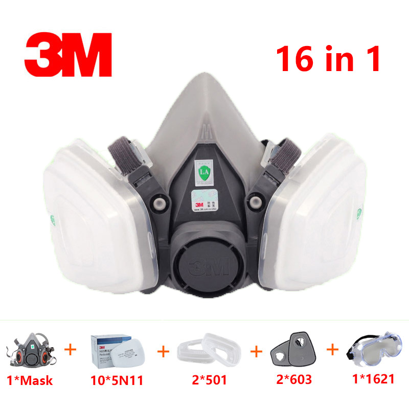 16in1 Suit 3M 6200 half Face Gas mask For 603 Spray Painting Protection Respirator Dust mask smoke Grinding dust welding Goggles16in1 Suit 3M 6200 half Face Gas mask For 603 Spray Painting Protection Respirator Dust mask smoke Grinding dust welding Goggles