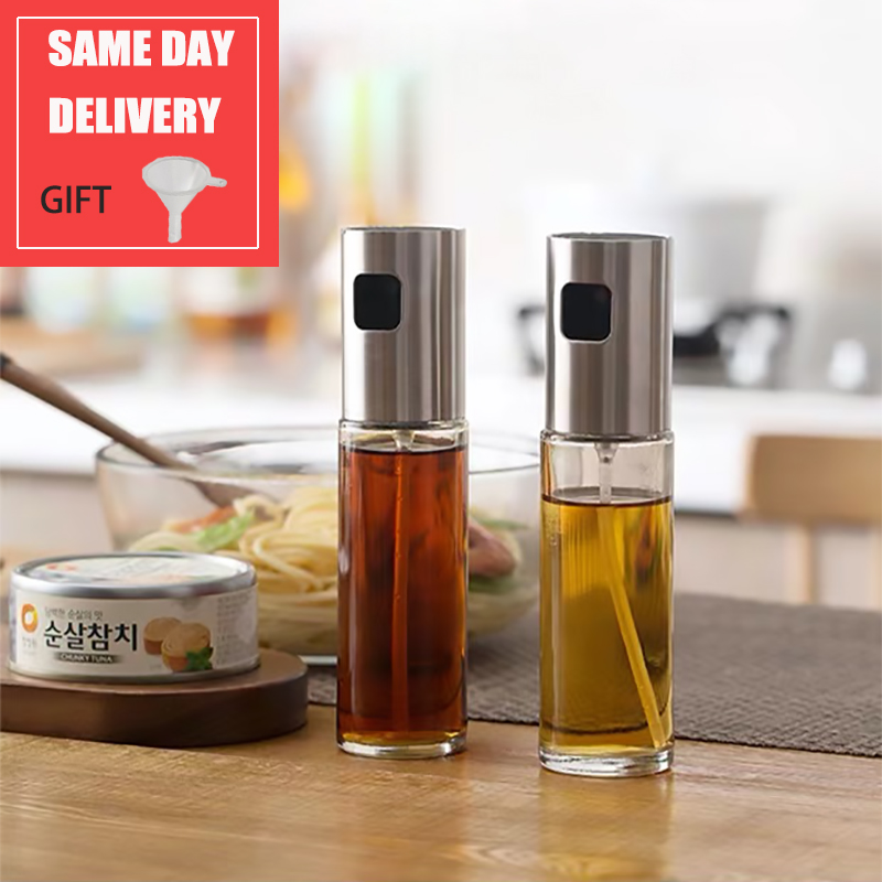 Kitchen Baking Oil Cook Oil Spray Empty Bottle Vinegar Bottle Oil Dispenser Cooking Tool Salad BBQ Cooking Glass Oil sprayer title=