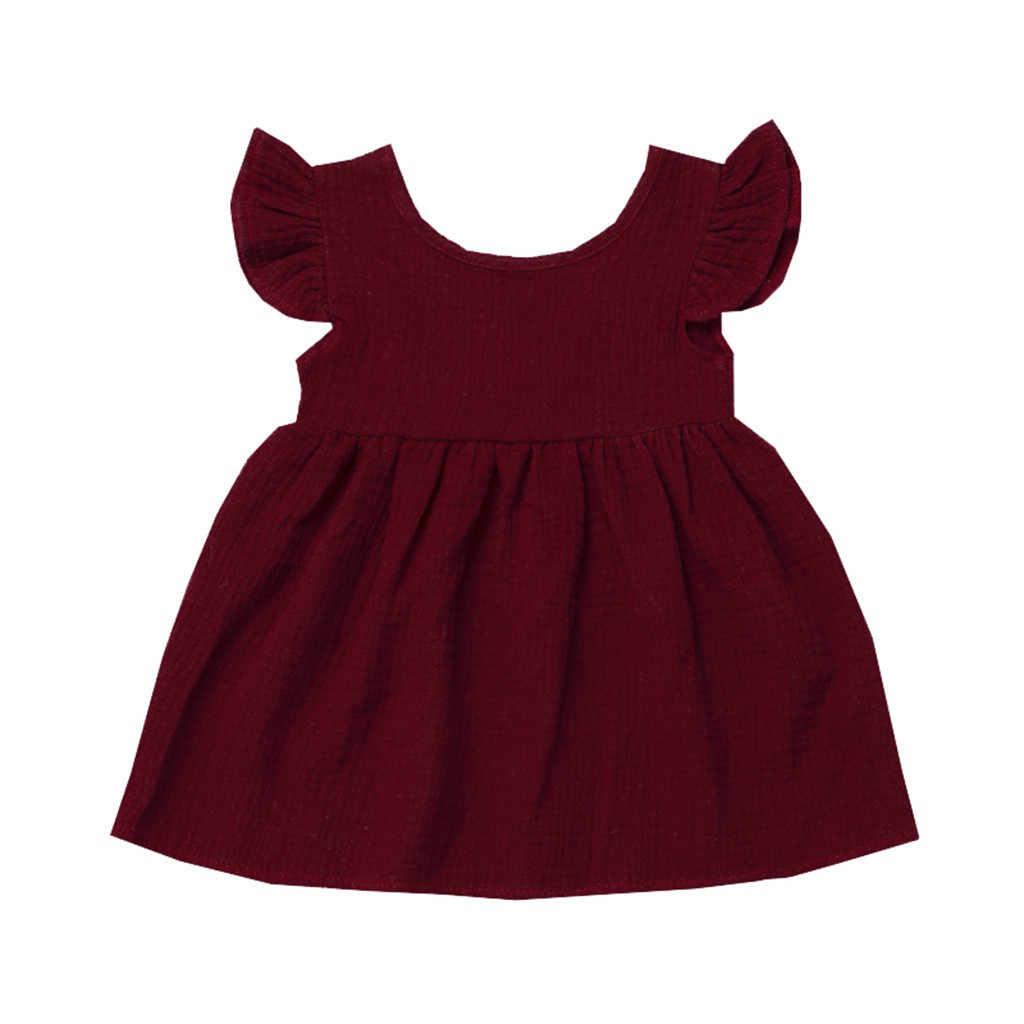 Новое летнее платье для девочек Хлопковое платье с оборками и летящими рукавами милая Корейская версия детской одежды для девочек-подростков